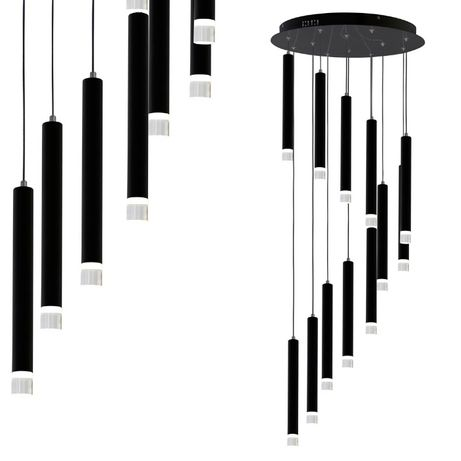 Czarna lampa wisząca 12x tuba tuby antresola MILAGRO CARBON ML6161