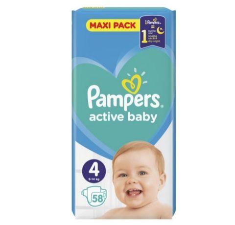 БРОНЬ!Подгузники pampers active baby maxi 4 (9-14 кг), 58 шт.Підгузки