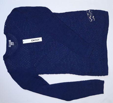 DKNY USA Donna Karan Sweterek Niebieski Azurowy Dziergany Koronka