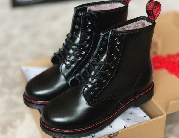 ЭКСКЛЮЗИВНЫЕ! Женские зимние ботинки Dr Martens 1460 Black Red на меху