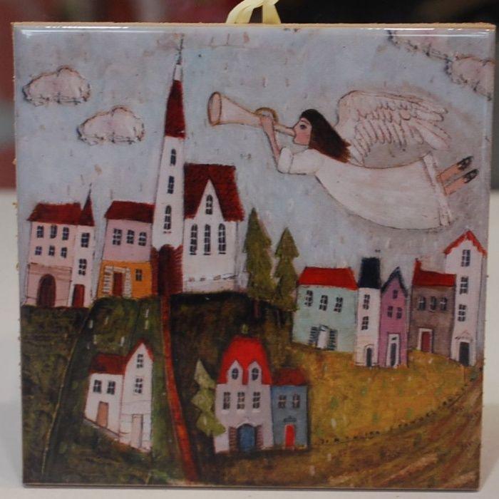 Kafelek ceramiczny Anioł nad Miastem Iwonicz-Zdrój - image 1