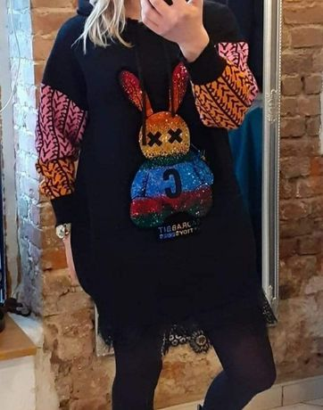 Sweter tunika królik