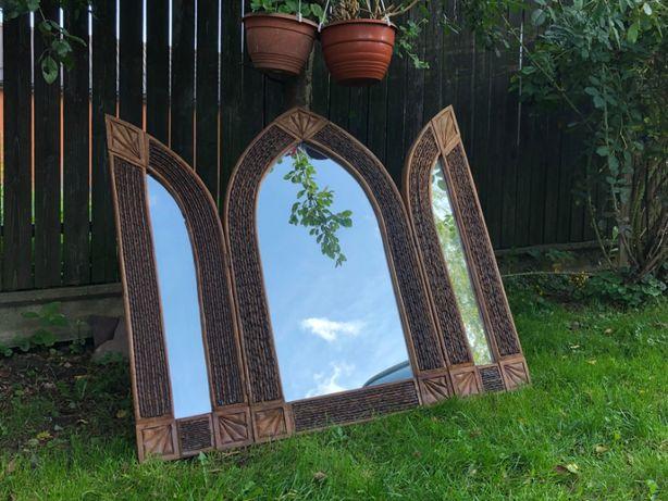 Duże drewniane lustro indyjskie, z Indii, otwierane, potrójne, tryptyk