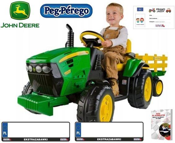 TRAKTOR na akumulator Peg Perego John Deere Power Pull z Przyczepa