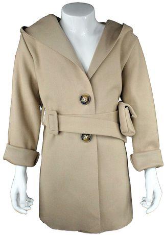 Płaszcz kremowy lekki dziecko kurtka jesień r. 4-14