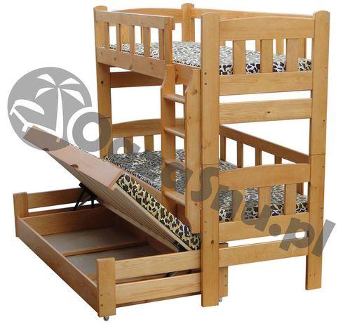 łóżko piętrowe trzyosobowe z pojemnikiem GIGANT 90x200 dowolny wymiar