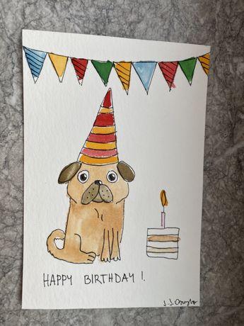 Krrka okolicznościowa urodzinowa urodziny mops mopsik pug akwarele t