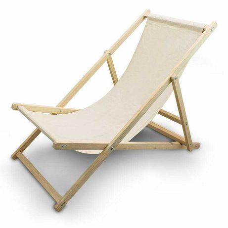 Leżak Plażowy Leżak ogrodowy Beżowy