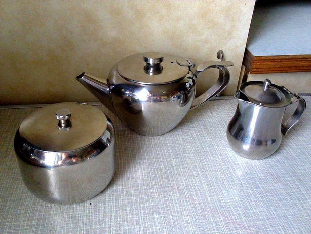 Чайник-заварник + сахарница + молочник (набор - 3 предмета) нержавейка