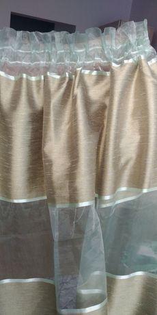 Zasłony w pasy, na taśmie, zieleń, złoto, 130x240 cm, 2szt