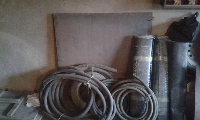 Стройматериалы, рубероид, шланги, листовой металл, брус сосновый