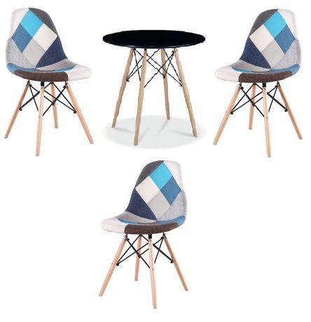 Zestaw stół okrągły czarny i 3 krzesła patchwork niebieskie
