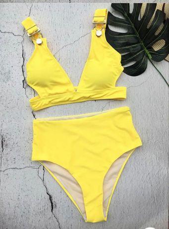 Продам жёлтый купальник с высокими трусиками размер м