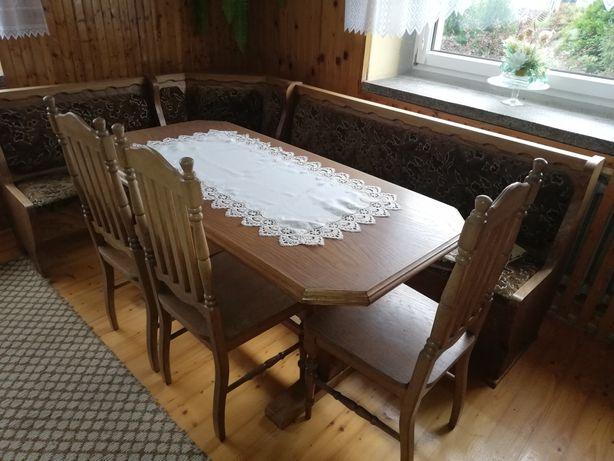 Stół dębowy z 3 krzesłami dębowymi i narożnikiem