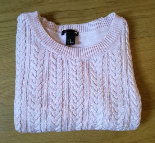 Sweter sweterek H&M pleciony warkocze sploty pudrowy róż XS