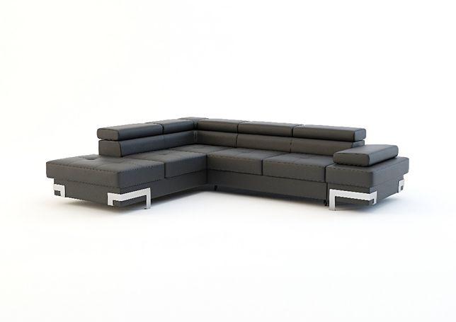 Narożnik Emporio kanapa łóżko nowy materiał szary Agata zagłówki