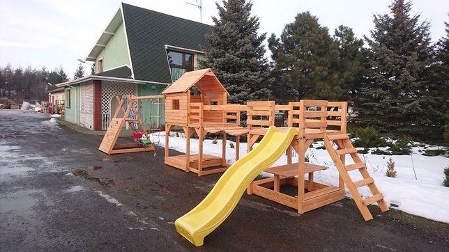 plac zabaw mostek stolik domek scianka wspinaczkowa