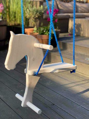 Huśtawka drewniana koń, dla dzieci