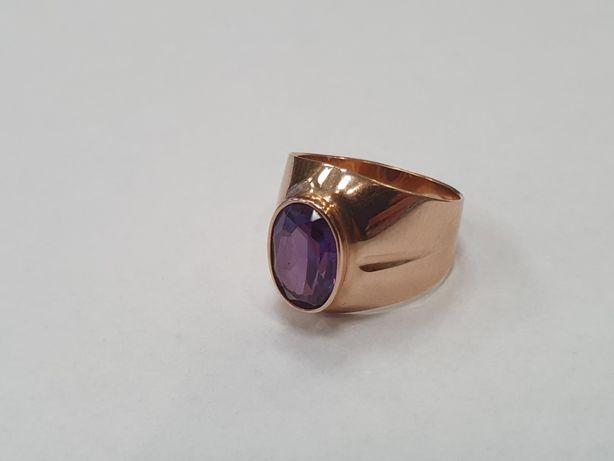 Piękny złoty sygnet męski/ 585/ 6.4 gram/ R17/ Aleksandryt/ Retro