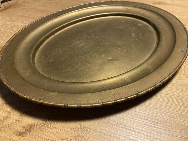 Stara duża mosiężna taca półmisek 42,5x33,5 cm
