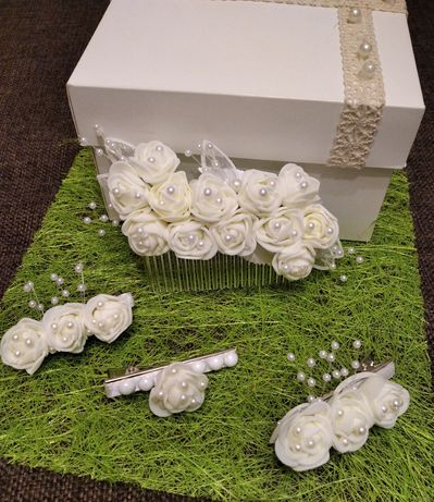Набір прикрас на волосся весільний, білий, ручної роботи, нарядний