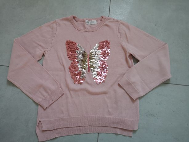 Sweter H&M 6-8 lat cekiny 122-128