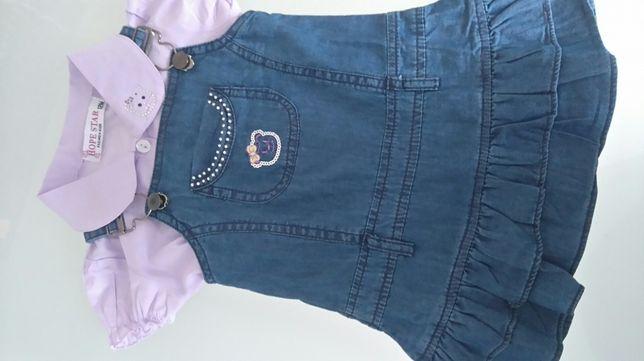 Sukienka + bluzka jeans rozm. 74/80