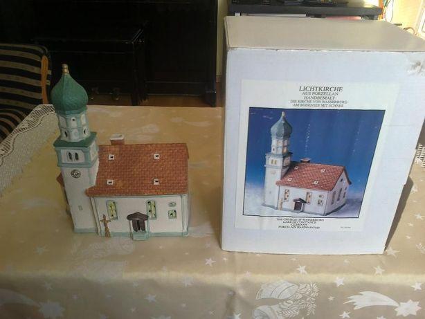 Boże Narodzenie dekoracja kościółek porcelana Lichtkirche Wasserburg