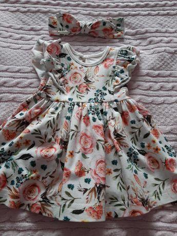 Sukienka niemowlęca Fabryka Bodziaków roz. 68 + opaska