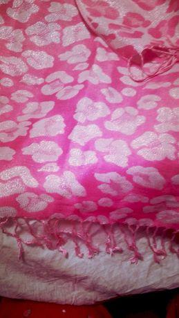палантин шарф шарф розовый серебро 56 на 1.85 эффектный красивый яркий