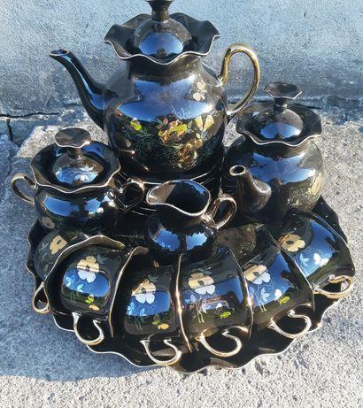 """Чайный сервиз""""Серенада"""" 6 персон,черное с золотом,фарфор,новый"""