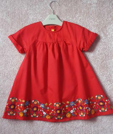 Sukienka świąteczna haftowana czerwona 92 Mothercare