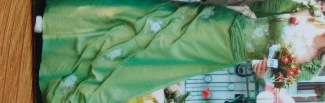 Suknia ślubna balowa oryginalna zielona S-M
