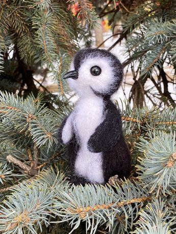 Пингвин игрушка валяная из шерсти подарок войлочная интерьерная