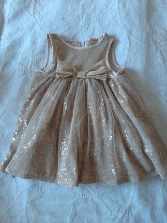 Sukienka złota cekinowa r.74 kokarda