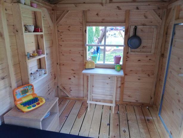 Drewniany duży domek ogrodowy dla dzieci, solidny