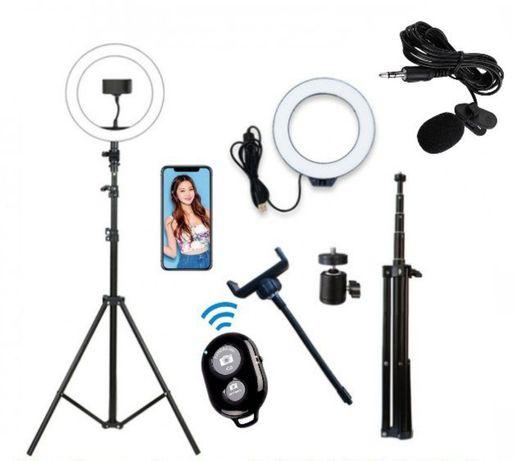 Кольцевая лампа пульт микрофон 26 30 33 45см селфи блогера штатив 2м