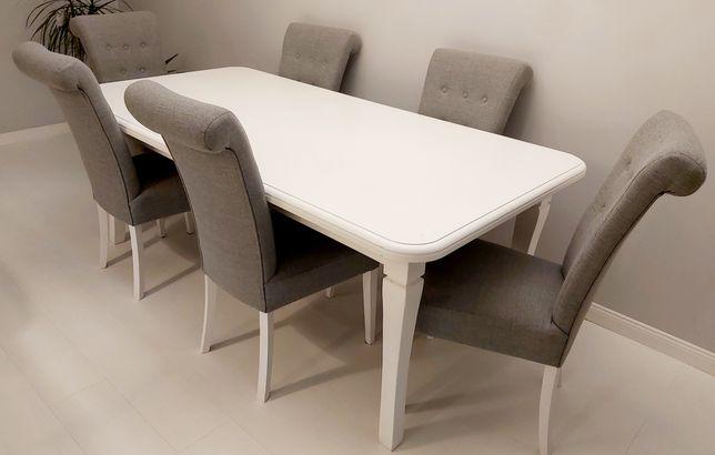 Stół i 6 krzeseł glamour komplet biały