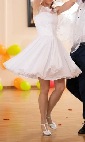 Okazja wyjątkowa suknia ślubna sukienka krótka 32 XXS biała z koronką