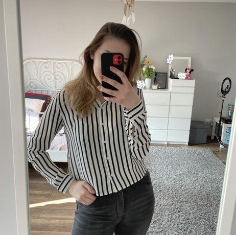 koszula w paski czarno-białe, h&m