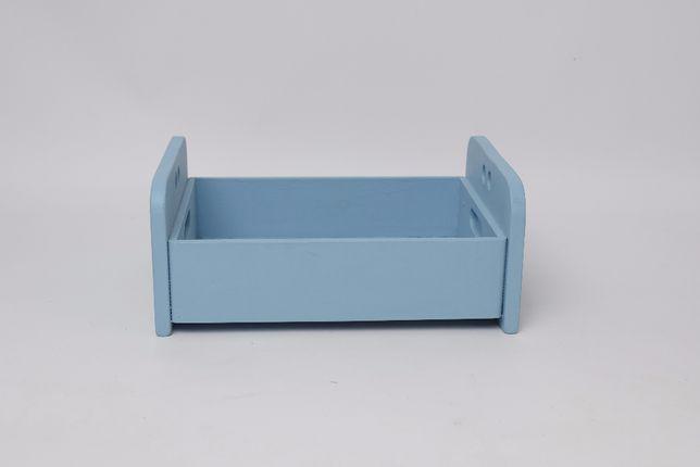 Łóżeczko do sesji noworodkowej, niemowlęcej, drewniane, niebieskie