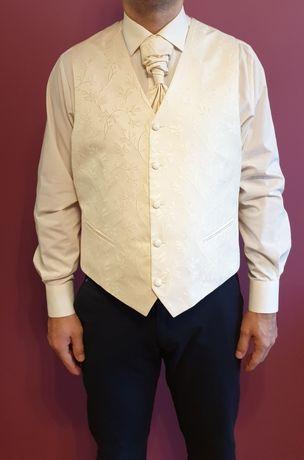 Kamizelka + żabot + koszula ECRU do ślubu