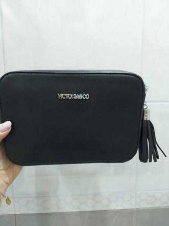 Nowa torebka Victoria Co. 2 przegrody. Czarna. Imitacja saffiano