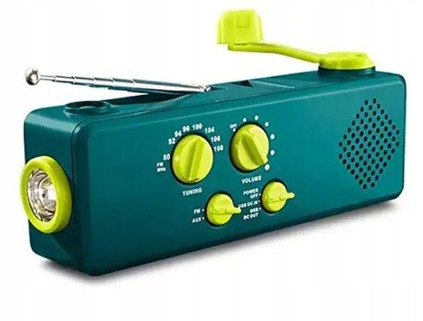 Radio turystyczne dynamo, powerbank, latarka