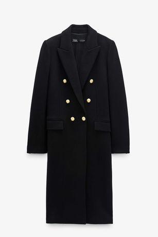 Zara nowy luksusowy płaszcz wełniany wełna XXL 44 złote guziki czarny