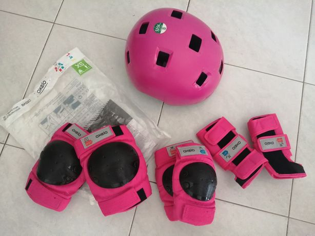 Conjunto capacete + protecções rosa