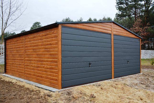 Garaz 5x6, 6x6, 5x7, 7x5 drewnopodobny, konstrukcja profil ocynkowany