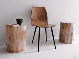 Mesa apoio / banco tronco madeira maciça