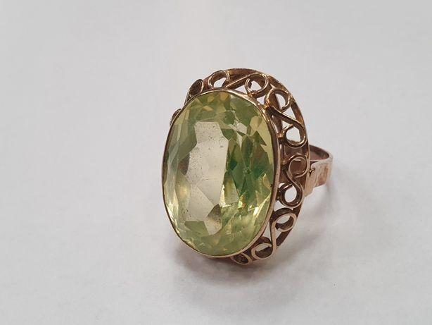 Retro! Piękny wiekowy złoty pierścionek/ 585/ 11.5 gram/ R19/ Zielone