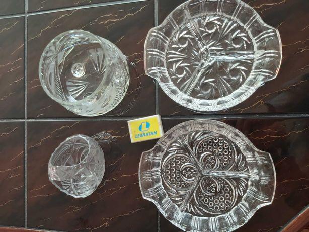 Zestaw kryształów talerzyk na przekąski koszyczek i cukiernica kryszta